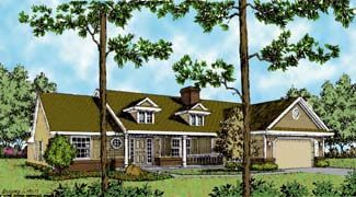 Country   Southern   Traditional   House Plan 63128. Condense middle potion and add width to each side portion