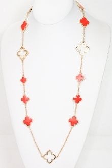 Coral Clover Necklace