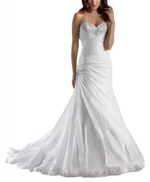 Sweetheart Neckline Taffeta Wedding Dress With Beaded Bodice #weddingdress