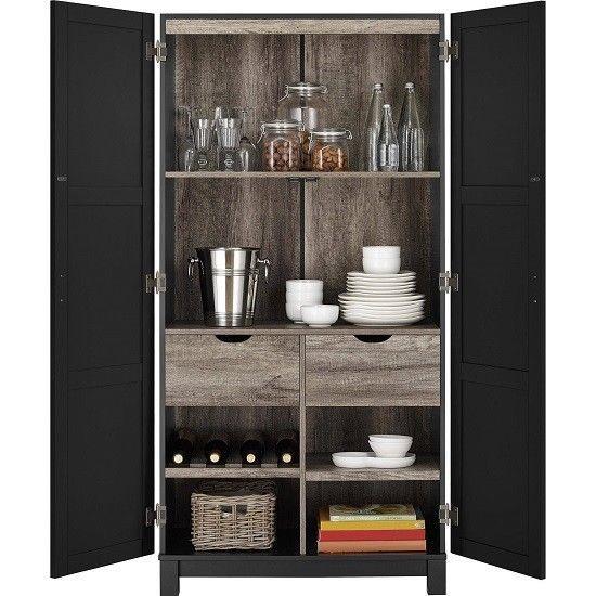 Tall Black Storage Pantry Cabinet Linen 2 Door 4 Shelf 2 Drawer Kitchen Bathroom Storage Cabinet Altra Furniture Cabinet