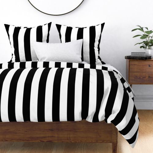 Three Inch Black And White Vertical Stripes Duvet Cover White Bedroom Decor Bedroom Decor Striped Bedroom