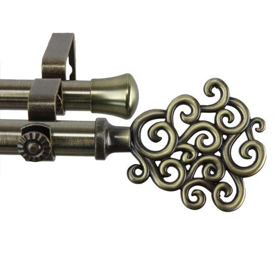 Cloud Antique Brass Adjustable Double Curtain Rod Set | Curtains ...