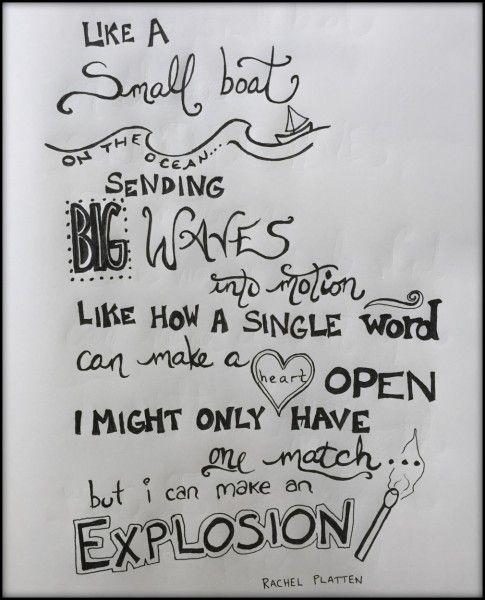 "Lyric art for Rachel Platten's ""Fight Song"" by Dianne Sylvan."