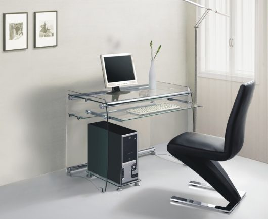 Contemporary Glass Computer Desk With Black Leather Chair Black