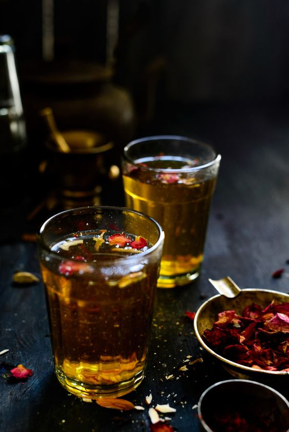 Kashmiri Kahwa Tea with cardamom, cloves, cinnamon and saffron.: