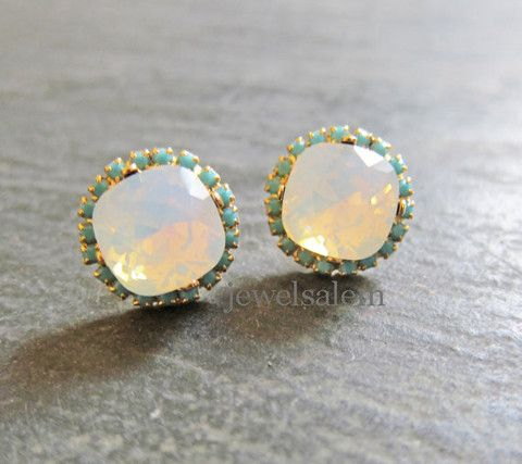 White Opal Earrings The Great Gatsby Turquoise Rhinestone Swarovski Crystal Moonstone Gemstone Studs Earring Translucent Milky Cloudy Precious Stone Exotic