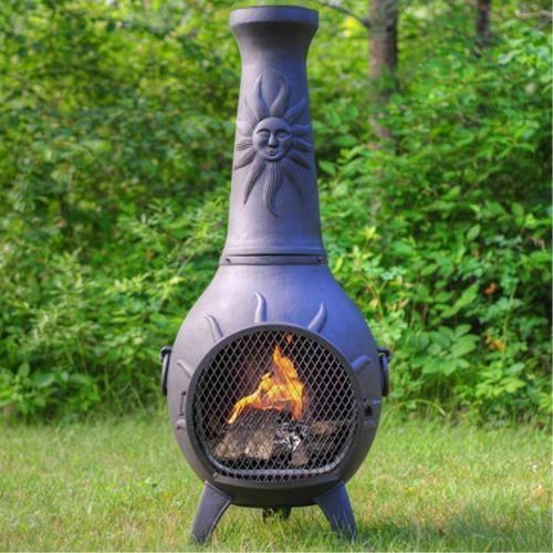 Safe Clean Burning Single Opening Traditional Chiminea Non Rusting Solid Cast Aluminum Alloy Body Stainless Steel Mout Chiminea Outdoor Fire Pit Large Chiminea