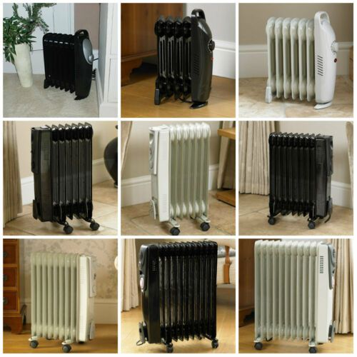 5 7 9 13 Fin Oil Filled Portable Electric Radiator Heater Adjustable Thermostat Ebay Oil Filled Radiator Radiator Heater Radiators
