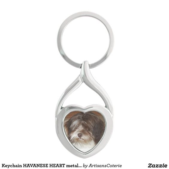 Keychain HAVANESE HEART metal photo by NL Garrett