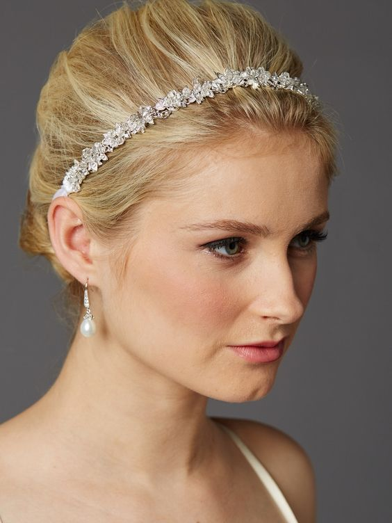 Slender Bridal Headband with Hand-wired Crystal Clusters and White Ribbons $43.95 www.nuptialsboutique.com #wedding #weddings #bride #bridalhair #weddinghair #hairpiece #diamond #silver #hairandmakeup