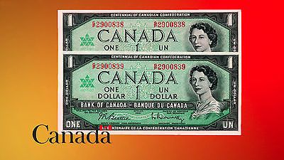 Canada 1967 $1 X 2 Consecutive Dollars - A.unc. +