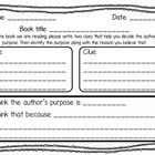 This author's purpose graphic organizer can be used with ANY book or reading sample. Students must identify two clues that help them pick out the a...