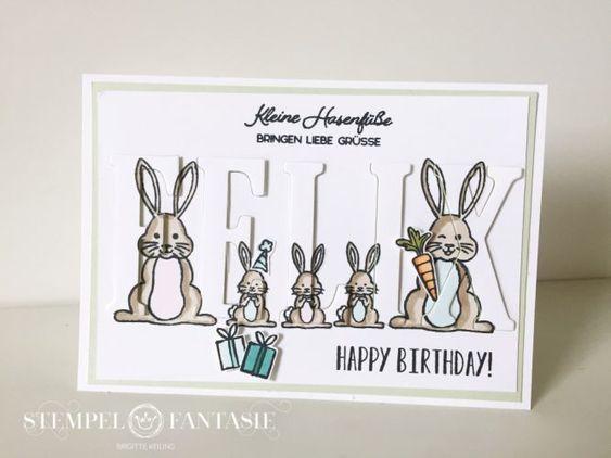Personalisierte Kinder-Geburtstagskarte mit Häschen-Familie
