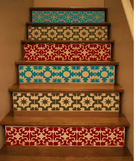 Vinyl Stair Tiles . Mexican Spanish Moroccan Style by crowbabys, $27.00: