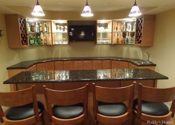 basement photo's | This is the view from behind the bar into the dining area. The door ...
