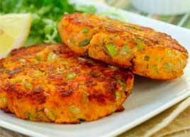 Sweet Potato Salmon Cakes #recipe - I love making these; super easy and delicious!