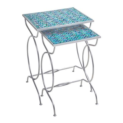 Blue Green Mosaic Square Nesting Table Set Nesting Tables Outdoor Furniture Sale Outdoor Accent Table