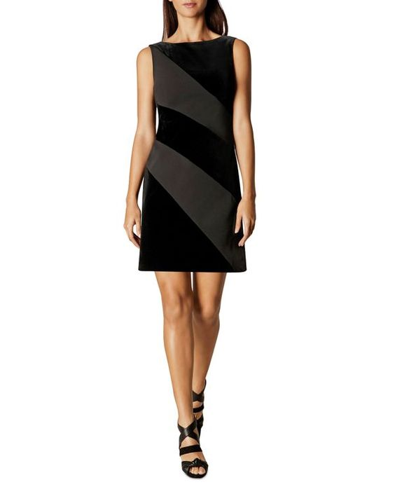 Karen Millen Velvet Panel Shift Dress