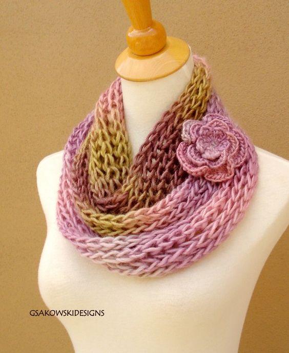 Ava-Soy Infinity-Loop Scarf-Pink   Capucha de punto, Beautiful y ...
