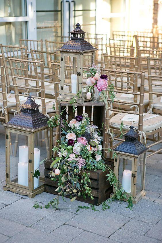 Lantern, Crate and Floral Arrangement