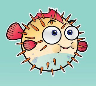 How to draw a puffer fish for kids - photo#15