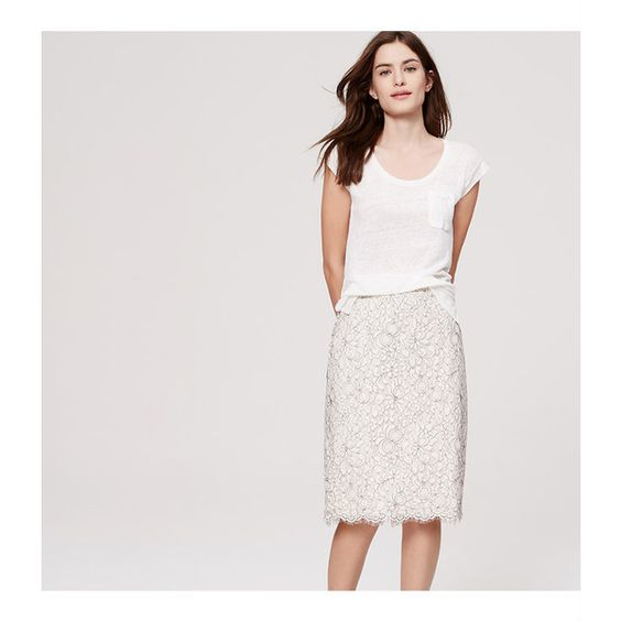LOFT Petite Floral Lace Pencil Skirt ($80) ❤ liked on Polyvore ...