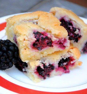 Blackberry blondies from  Baking Bites.  Trying this tonight with berries fresh from the yard.