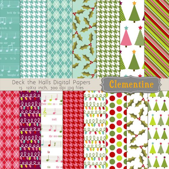 15 Christmas digital papers in 12X12 inch format.  You will receive 15 individual JPG files created at 300 dpi.