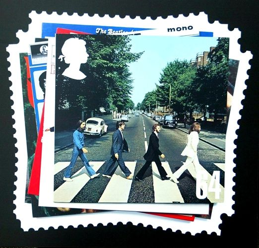Royal Mail stamps featuring the Beatles, at the Abbey Road Studios in London.