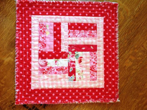 One Shabby Pink and Red Mini Quilt Polka Dot by TwostitchHill
