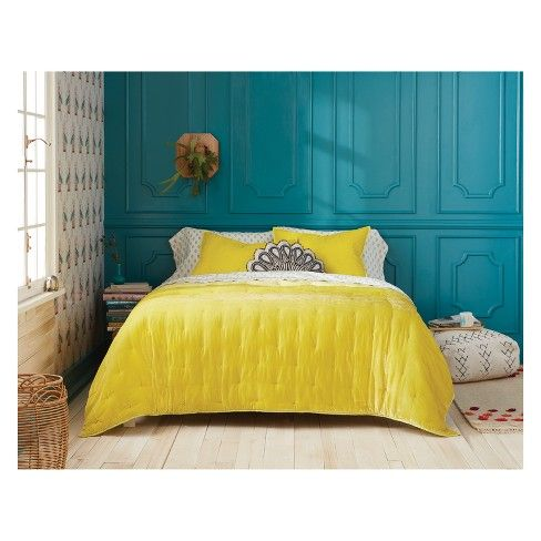 Velvet Tufted Stitch Quilt Opalhouse Bed Decor Yellow Bedroom King Quilt