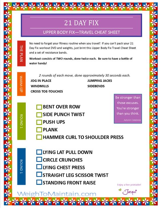 21 Day Fix Upper Body Fix Workout PDF - A Travel Cheat Sheet   Weigh to Maintain