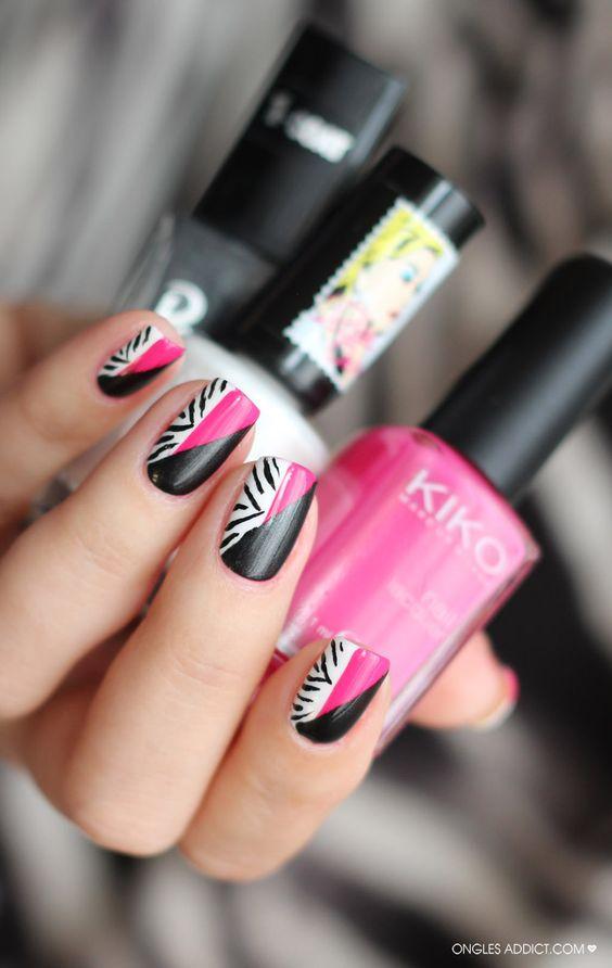 zebra addiction | La version Nail Art Zebra de Ongles addict pour le Twin Eternail.