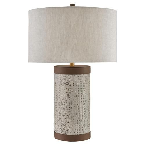 Brayden Global Bazaar Ivory Patterned Brown Accent Leather Cylinder Table Lamp In 2021 Table Lamp Lamp Accent Lamp