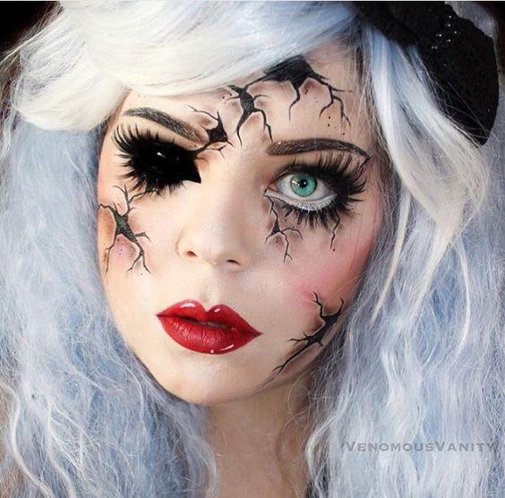 creepy doll makeup make up pinterest p ppchen make up make up und puppen. Black Bedroom Furniture Sets. Home Design Ideas