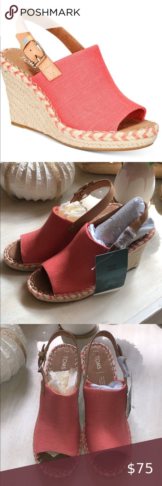 Hp Nib Toms Monica Sling Back Wedges Size 8 5 In 2020 Toms Shoes Wedges Womens Shoes Wedges Wedges