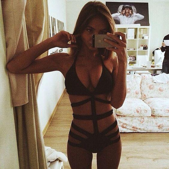 bathing suit black tan thin fit
