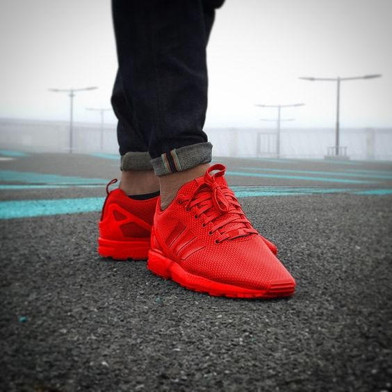 "Love this all-red ""Adidas mi ZX Flux"" colorway!"