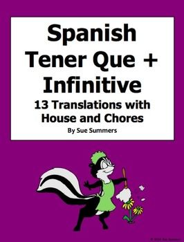 Spanish Tener Que + Infinitive with Chores and House Vocabulary 13 Sentences by Sue Summers