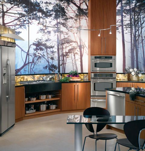 Glass Kitchen  GE Profile #kitchen with large #windows, mahogany #cabinets and granite #countertops