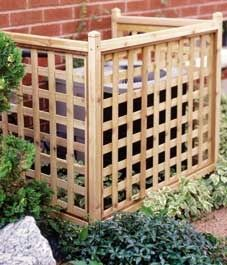 Easy to build lattice screen to cover air conditioner unit.~~ and then maybe after u build it, have different flowers grow up around it?
