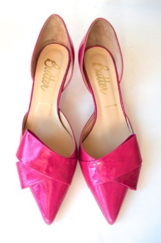 BUTTER HOT PINK BOW LEATHER KITTEN HEELS LEATHER CUT OUT 7 1/2 7.5