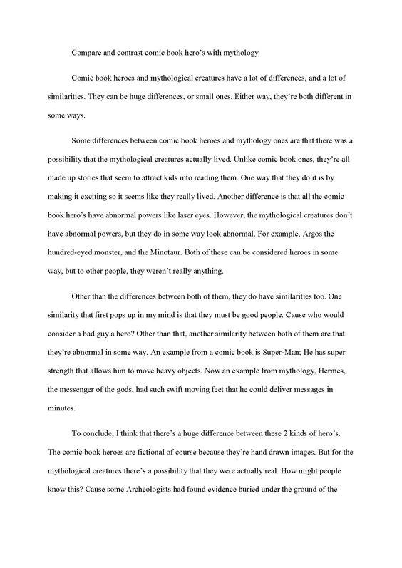 a comparison essay examples