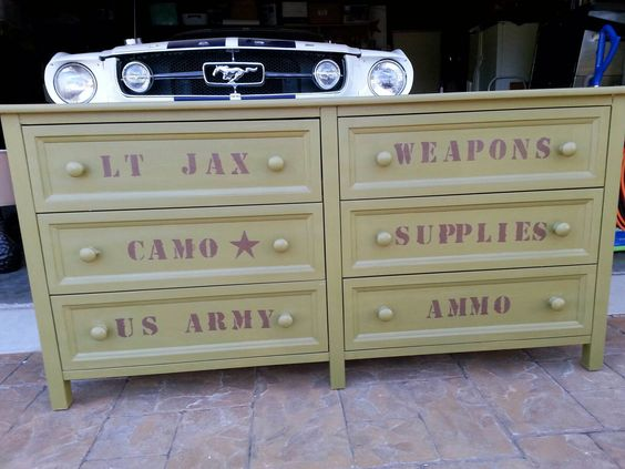Camo army room dresser