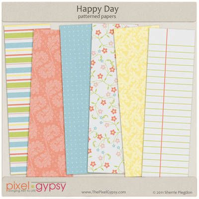 Happy Day Patterned Papers Free Digital Scrapbooking ...