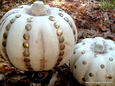 DIY Dollar Store Fall Halloween Decor ~ Studded Decorative Pumpkins using…