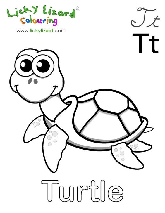T Is For Turtle Colouring Kids Turtle