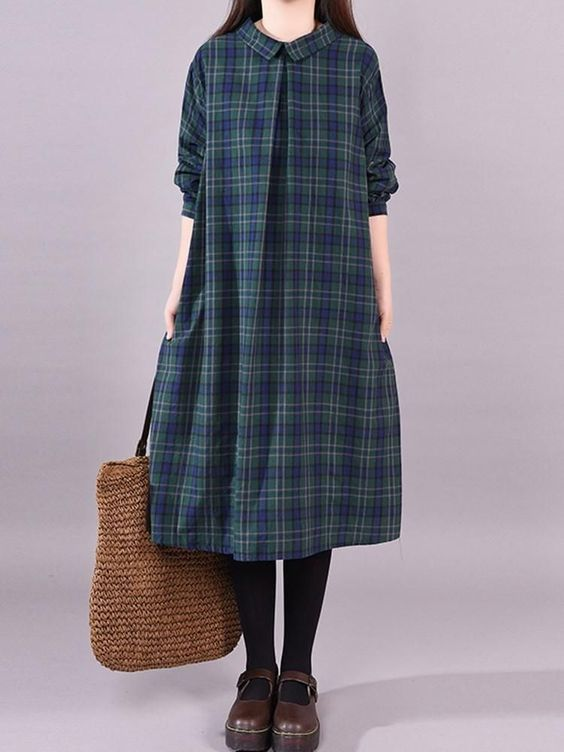 LONG SLEEVE MID-CALF PLAID DRESSES #Dress #Leatrend