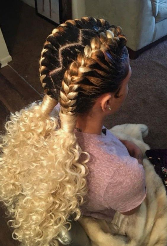 Useful 19 Two French Braids Black Hairstyles New Natural Hairstyles Braids With Extensions French Braids With Extensions Braided Hairstyles