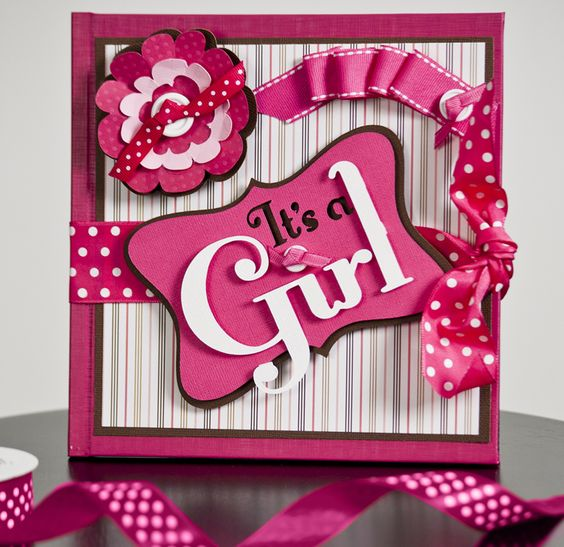Create this adorable It's a Girl Scrapbook with the Stork's Delivery and Your Story Cartridges!